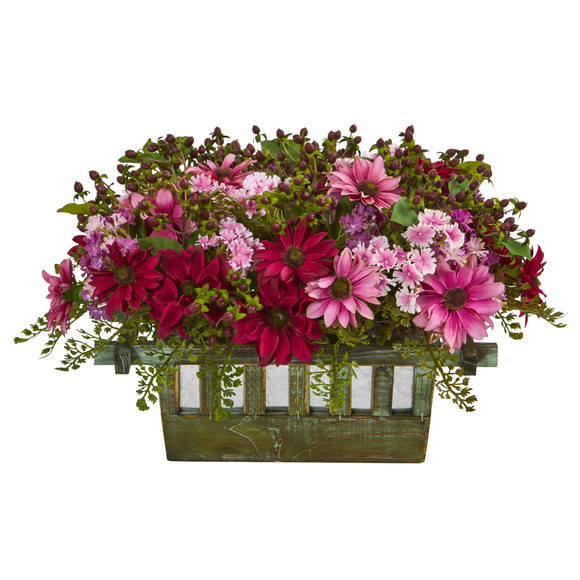 Daisy Artificial Arrangement in Decorative Planter - SKU #1581