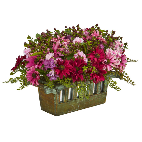 Daisy Artificial Arrangement in Decorative Planter - SKU #1581 - 1