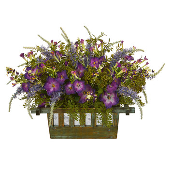 Morning Glory Artificial Arrangement in Decorative Planter - SKU #1582