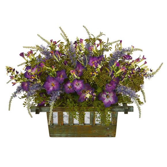 Morning Glory Artificial Arrangement in Decorative Planter - SKU #1582