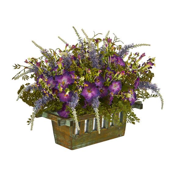 Morning Glory Artificial Arrangement in Decorative Planter - SKU #1582 - 1