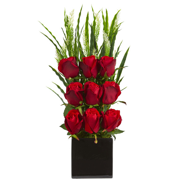 Elegant Rose Artificial Arrangement in Black Vase - SKU #1583