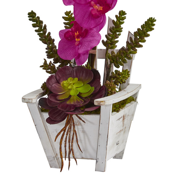 Phalaenopsis Orchid Succulent Artificial Arrangement in Chair Planter - SKU #1584 - 1