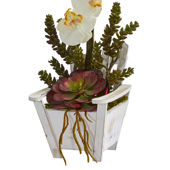 Phalaenopsis Orchid Succulent Artificial Arrangement in Chair Planter - SKU #1584 - 11