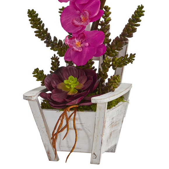 Phalaenopsis Orchid Succulent Artificial Arrangement in Chair Planter - SKU #1584 - 7