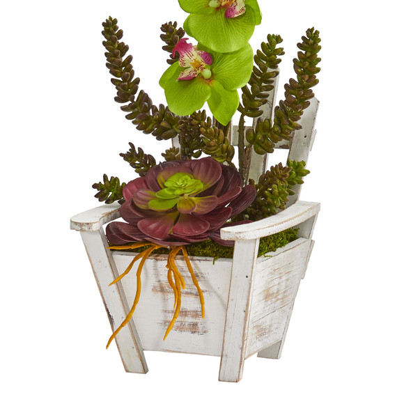 Phalaenopsis Orchid Succulent Artificial Arrangement in Chair Planter - SKU #1584 - 15