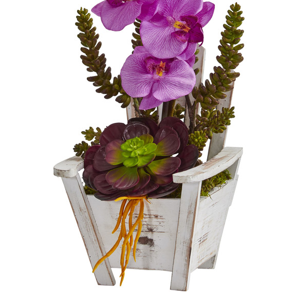 Phalaenopsis Orchid Succulent Artificial Arrangement in Chair Planter - SKU #1584 - 13