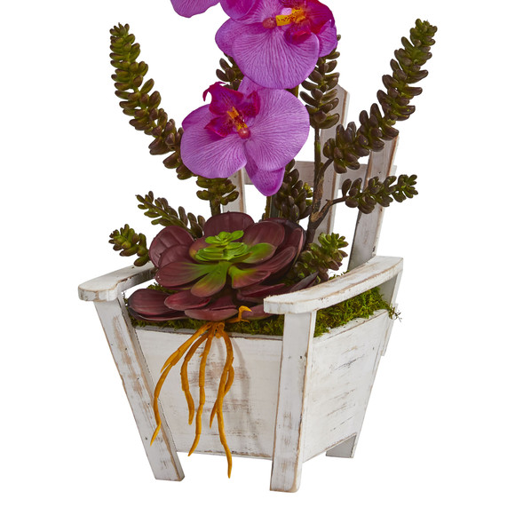 Phalaenopsis Orchid Succulent Artificial Arrangement in Chair Planter - SKU #1584 - 3