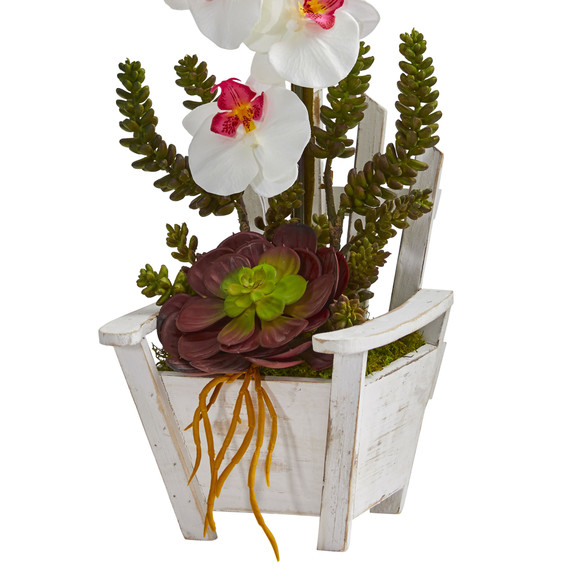 Phalaenopsis Orchid Succulent Artificial Arrangement in Chair Planter - SKU #1584 - 5