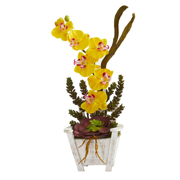 Phalaenopsis Orchid Succulent Artificial Arrangement in Chair Planter - SKU #1584 - 8