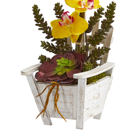 Phalaenopsis Orchid Succulent Artificial Arrangement in Chair Planter - SKU #1584 - 9