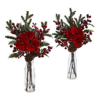 Holly Berry and Orchid Artificial Arrangement in Vase Set of 2 - SKU #1585-S2