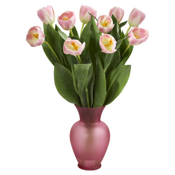 Tulips Artificial Arrangement in Vase - SKU #1586