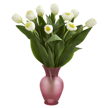 Tulips Artificial Arrangement in Vase - SKU #1586-WH