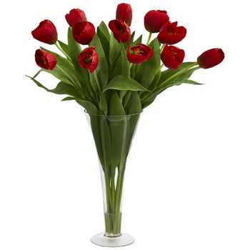 Tulips Artificial Arrangement in Flared Vase - SKU #1587-RD