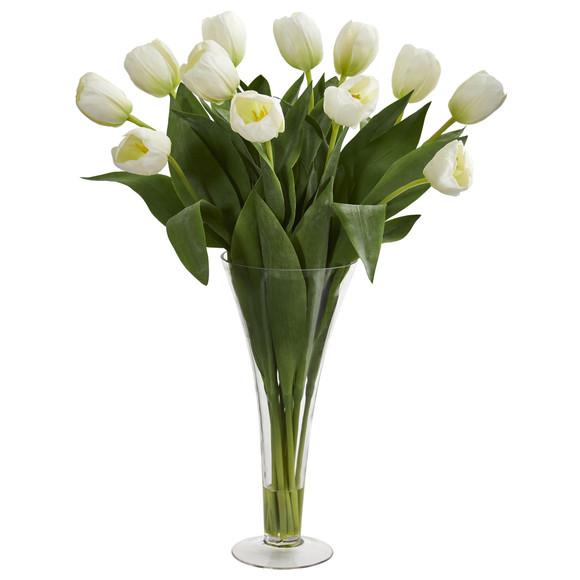 Tulips Artificial Arrangement in Flared Vase - SKU #1587 - 2