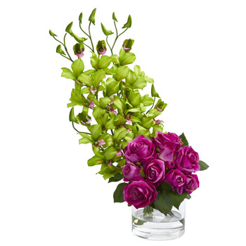 Rose Dendrobium Orchid Artificial Arrangement - SKU #1589
