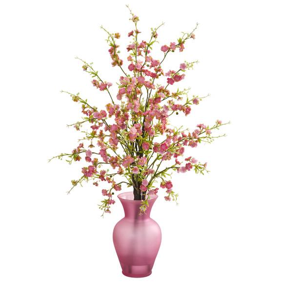 Cherry Blossom Artificial Arrangement in Rose Vase - SKU #1590