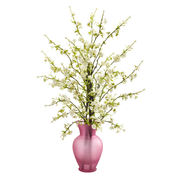 Cherry Blossom Artificial Arrangement in Rose Vase - SKU #1590 - 1