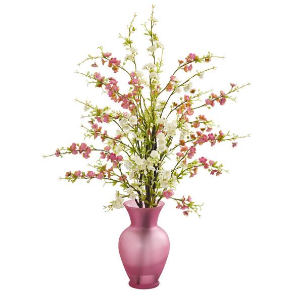 Cherry Blossom Artificial Arrangement in Rose Vase - SKU #1590-PK - 1