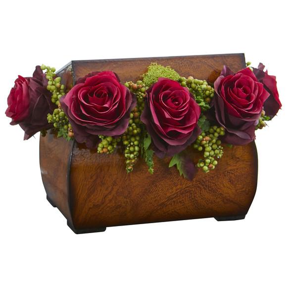 Roses Artificial Arrangement in Decorative Chest - SKU #1591-BG