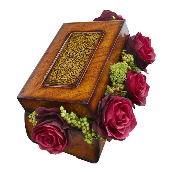 Roses Artificial Arrangement in Decorative Chest - SKU #1591-BG - 1