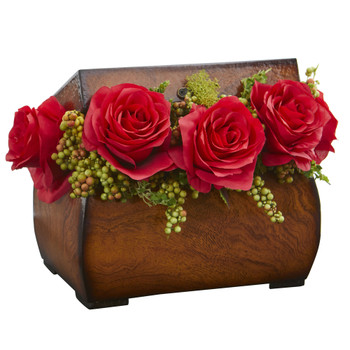 Roses Artificial Arrangement in Decorative Chest - SKU #1591