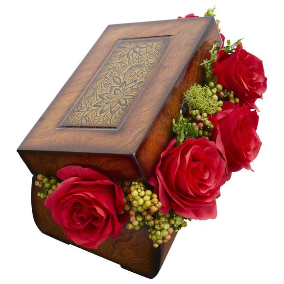 Roses Artificial Arrangement in Decorative Chest - SKU #1591 - 1