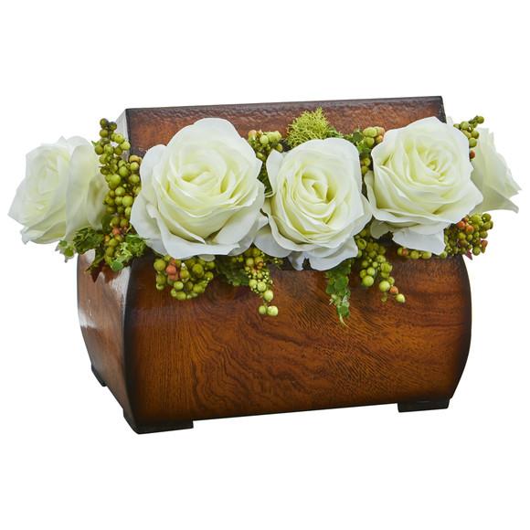 Roses Artificial Arrangement in Decorative Chest - SKU #1591 - 2