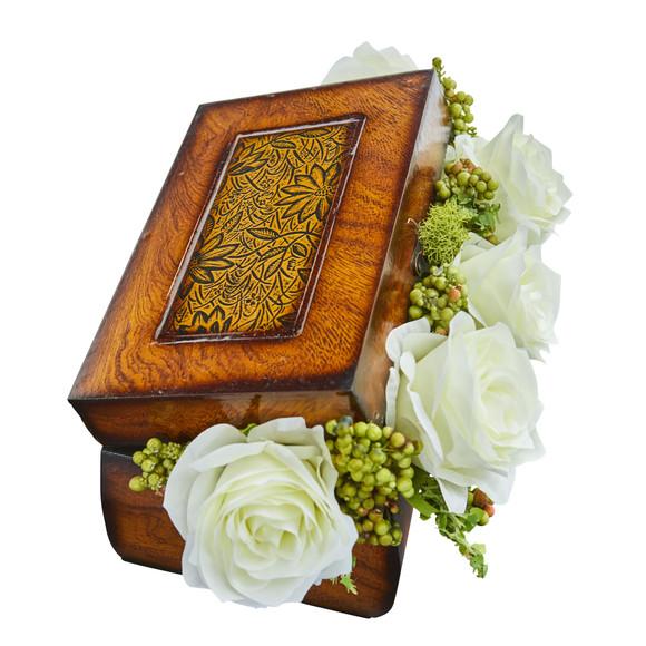 Roses Artificial Arrangement in Decorative Chest - SKU #1591 - 3