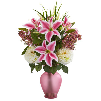 Mixed Flowers Artificial Arrangement in Rose Vase - SKU #1595