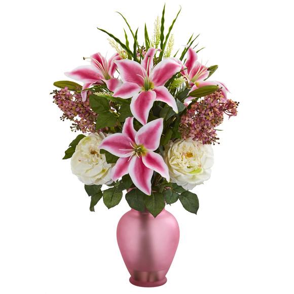 Mixed Flowers Artificial Arrangement in Rose Vase - SKU #1595