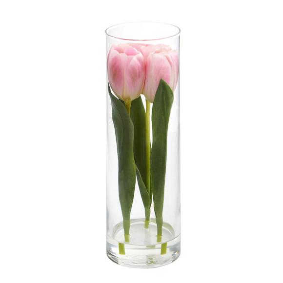 Tulips Artificial Arrangement in Glass Vase - SKU #1596 - 1