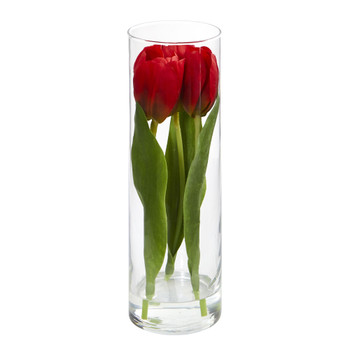 Tulips Artificial Arrangement in Glass Vase - SKU #1596-RD