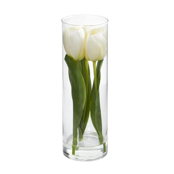 Tulips Artificial Arrangement in Glass Vase - SKU #1596 - 2