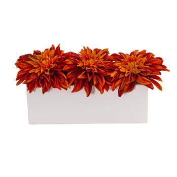 Dahlia Artificial Arrangement in White Planter - SKU #1598-OR