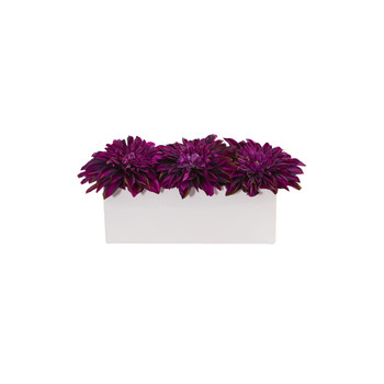 Dahlia Artificial Arrangement in White Planter - SKU #1598