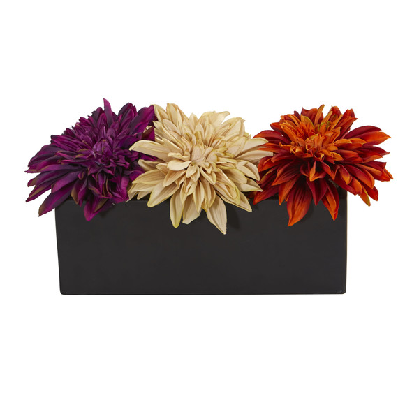 Dahlia Artificial Arrangement in Black Planter - SKU #1599 - 2