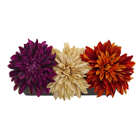 Dahlia Artificial Arrangement in Black Planter - SKU #1599 - 3