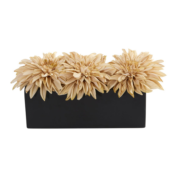 Dahlia Artificial Arrangement in Black Planter - SKU #1599 - 4