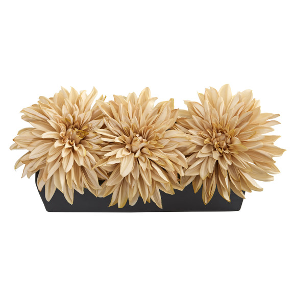 Dahlia Artificial Arrangement in Black Planter - SKU #1599 - 5