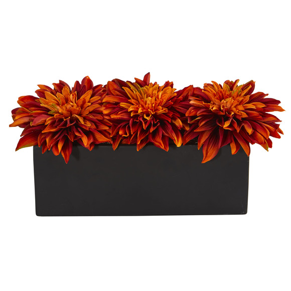 Dahlia Artificial Arrangement in Black Planter - SKU #1599 - 6