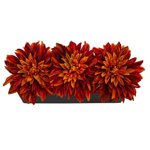 Dahlia Artificial Arrangement in Black Planter - SKU #1599 - 7
