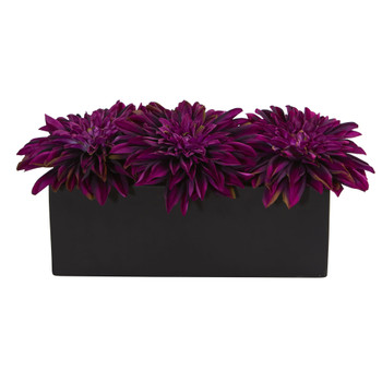 Dahlia Artificial Arrangement in Black Planter - SKU #1599-PP
