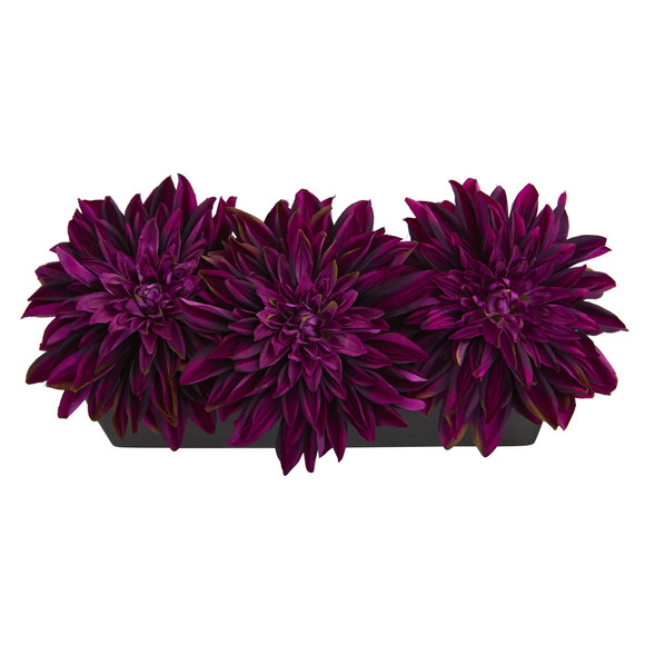 Dahlia Artificial Arrangement in Black Planter - SKU #1599 - 1