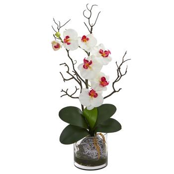 Phalaenopsis Orchid Artificial Arrangement in Vase - SKU #1600