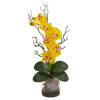 Phalaenopsis Orchid Artificial Arrangement in Vase - SKU #1600