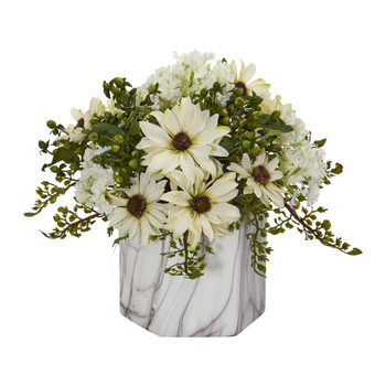 Daisy Artificial Arrangement in Marble Finished Vase - SKU #1602-CR