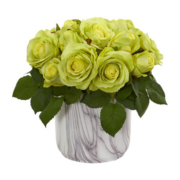 Rose Artificial Arrangement in Marble Finished Vase - SKU #1603-GR