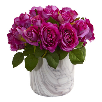 Rose Artificial Arrangement in Marble Finished Vase - SKU #1603